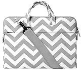 Mosiso Laptop Shoulder Briefcase Bag, Canvas Fabric Sleeve Carry Case Handbag Cover for 15-15.6 Inch MacBook Pro, Notebook Computer, Chevron Gray
