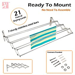 YT Wall Mounting Foldable Cloth Drying Rack cum Hanger 3 feet (90cmx11cmx19cm) Stainless Steel