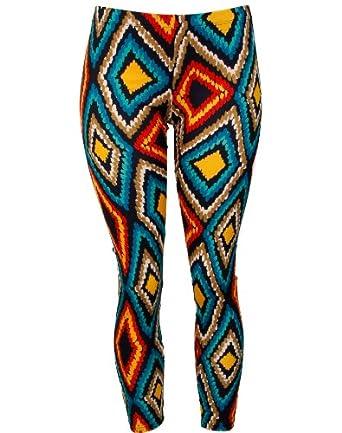 Colorful Geometric Shape Print Pattern Leggings (Medium)