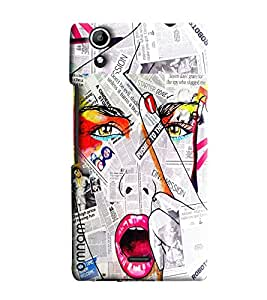 Omnam Girl Printed On Newspaper Beautiful Desinger Back Cover Case for Micromax Selfie 2 Q340