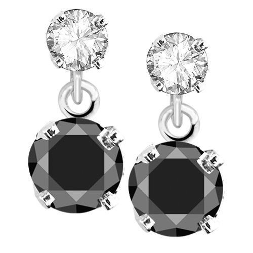 14k White Gold Black and White Diamond Dangle Earrings (1/2 cttw, J-K Color, I2-I3 Clarity)