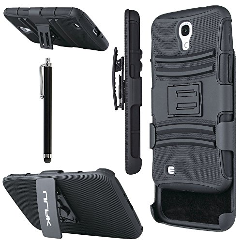 Pandamimi ULAK(TM) Heavy Duty Shockproof Dual Layer Holster Case for Samsung Galaxy Mega 6.3, GT-I9200 I9205 with Kickstand and Locking Belt Swivel Clip (Black)
