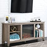 New 58 Inch Wide Ash Grey TV Stand with Fireplace Insert by Home Accent Furnishings