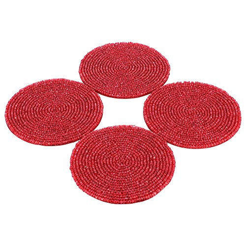 Tea Coaster Red Beaded Placemat Home Decorations Indian, Set Of Four (Red Coasters compare prices)