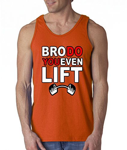 New Way 211 - Mens BRO DO YOU EVEN LIFT GYM Funny Tank-Top XL Orange (Do You Even Lift Tank Top compare prices)