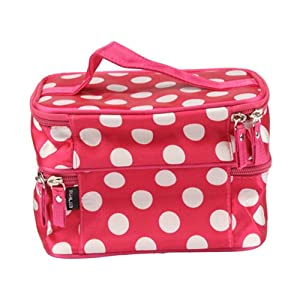 Unique Dots Pattern Double Layer Cosmetic Bag Rose Red