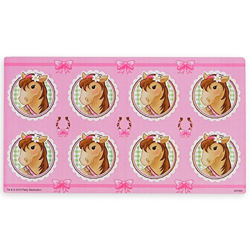 Pink Cowgirl Party Supplies - Small Lollipop Sticker Sheet by BirthdayExpress (Pink Cowgirl Small Lollipop Sticker Sheet)