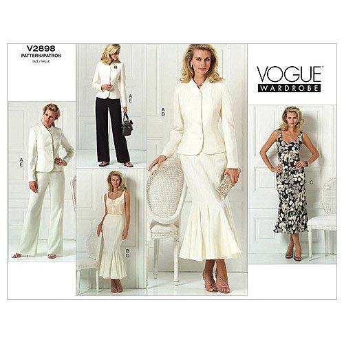 Vogue Patterns V2898 Misses'/Misses' Petite Jacket, Top, Dress, Skirt And Pants, Size C (10-12-14)