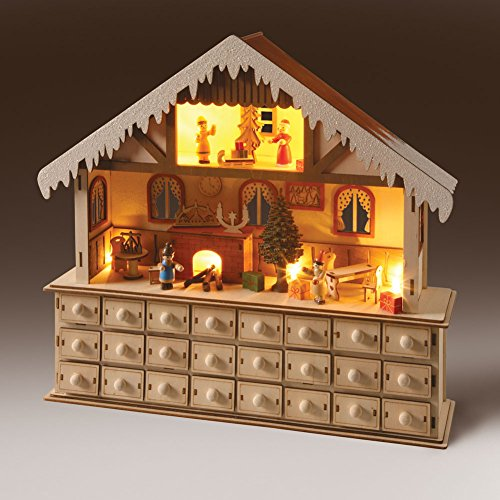 Lighted Santa's Advent Wooden Workshop (Advent House compare prices)