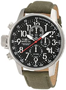 Invicta Men's 1873 I-Force Left Handed Chronograph Black Dial Green Fabric Leather Backed Watch at Sears.com