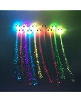 Zicome Light-up Fiber Optic Led Hair Lights - Multicolor Flashing Barette - Rainbow Colors (Alternating Multicolors)
