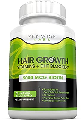 Hair Growth Vitamins Supplement - 5000mcg of Biotin & DHT Blocker for Hair Loss and Baldness - Contains Vitamins That Stimulate Hair Growth & Shine for Men and Women