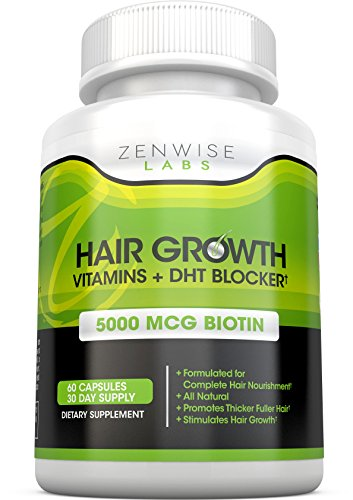 Hair Growth Vitamins Supplement - 5000mcg of Biotin & DHT Blocker for Hair Loss and Baldness - Contains Vitamins That...