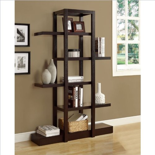 Monarch Specialties Cappuccino Finish Open Concept Display Etagere (Wall Units Furniture Living Room compare prices)