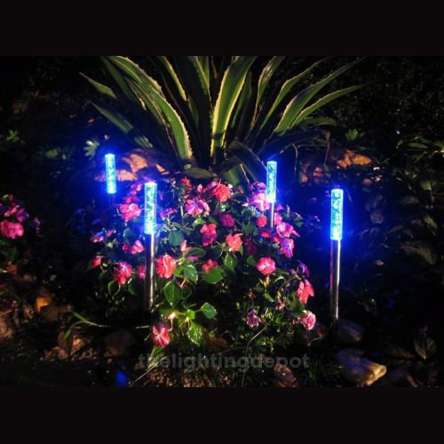 4 x Solar Blue Bubble Light for Garden Patio Path Border Marker Decoration