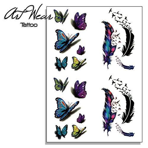 "Tatuaggio Temporaneo Realistico di artistas ""Plumes & Papillons"" - ArtWear Tattoo Beauty - S0007 S"