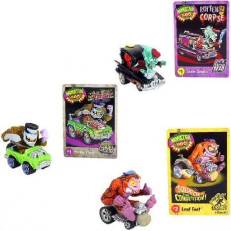 Monster 500 Small Car & Trading Card Collectors 3-Pack - Zoom Zombie, Lead Foot, Flattop Frank - 1