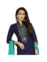 BanoRani Navy Blue & Green Color Cotton Embroidered SemiStitched Long Salwar Suit(Chudidar)