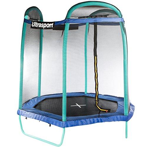 Ultrasport Trampolino da Giardino Jumper Esagonale 213 cm, Inclusa Rete di Sicurezza
