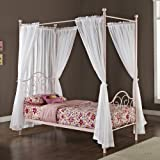 Metal Twin-Size Canopy Bed with Curtains, Pink