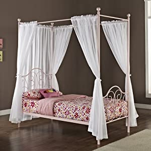 Metal twin size canopy bed with curtains - Canopy bedroom sets with curtains ...