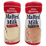 Nestle Carnation Malted Milk Powder, Chocolate and Orginal Flavor Bundle, 13 Oz Containers (2 Items) (Tamaño: 13 Ounces)