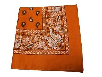 "100% Cotton Double Sided Print Paisley Bandana Scarf, Head Wrap - Orange, 22"" X 22"""