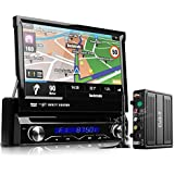 XTRONS® Single 1 Din 7 Inch Motorized Detachable HD Touch Screen Car Stereo In Dash USB SD IPOD DVD Player GPS Navigation Radio RDS Bluetooth DVB-T Digital Freeview TV