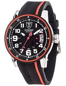 Detomaso Herren-Armbanduhr XL TARENT Black/Red Analog Quarz Silikon DT2034-A