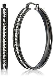 Black Stainless Steel Crystal Inlay Glitter Hoop Earrings