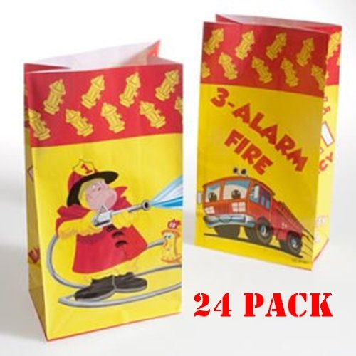(24) Firefighter Paper Bags - 24 Pc - Fire Fighter Theme Party Favor Bags - 1