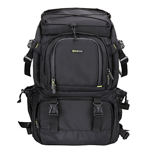 Evecase Extra Large DSLR Camera/Laptop Travel Backpack Gadget Bag w/ Rain Cover – Black