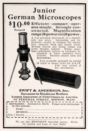 1926 Ad Swift Anderson Junior German Microscopes Science Scientific Equipment - Original Print Ad