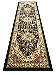 Traditional Area Rug Runner 32 In. X 10 Ft. Black Bellagio 401