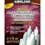 Kirkland Signature Original Nasal Decongestant 12 Hour Spray (4 x 1 Oz Bottles) ~ Kirkland Signature