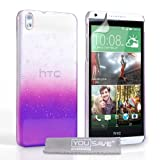 Yousave Accessories HTC Desire 816 Case Purple / Clear Raindrop Hard Cover