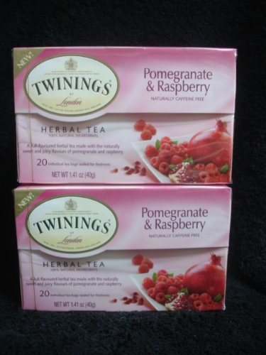 Twinings Herbal Pomegranate And Raspberry Tea, 40 Count
