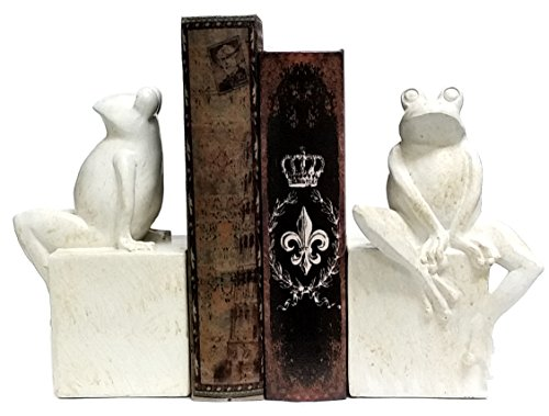 Bookends - Fanciful Frog Book Ends - Thinker Frog Bookend - Antique White Finish