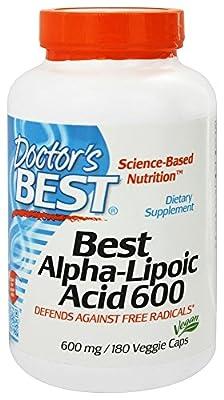 Doctor's Best Alpha Lipoic Acid 600mg, 180 Vegetarian Capsules