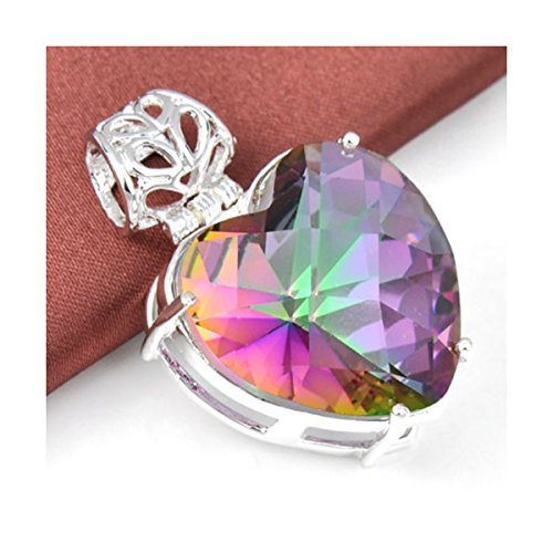 Romantic Love Heart Rainbow Mystic Fire Topaz Gemstone Silver Necklace Pendant (Mystic Fire Topaz Gem compare prices)
