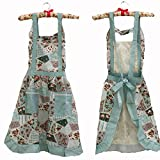 Hot Stylish Flower Pattern Women's Fashion Floral Cotton Chef Cooking Cook Apron Bib with Pockets 15# Hyzrz