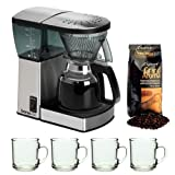 Bonavita BV1800 8 Cup Coffee Maker With Glass Carafe with 4 pcs 10oz Handy Glass Coffee Mug and Grand Aroma Whole Bean Coffee (8.8oz),Espresso