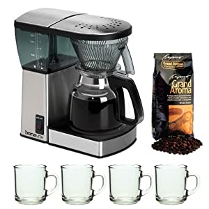 Bonavita BV1800 8 Cup Coffee Maker With Glass Carafe with 4 pcs 10oz Handy Glass Coffee... by Bonavita