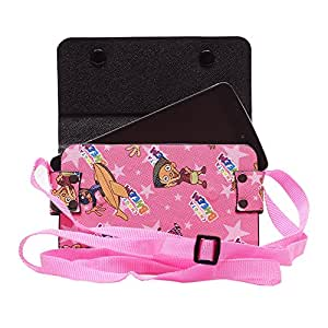 Colorkart Printed Mobile Pouch Handbag With Adjustable Strip For Samsung SM-J510FZKUINS Mobile Phone (Pink)