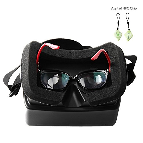 Soyan 65 mm Focal Length Virtual Reality DIY 3D VR Glasses,Google Cardboard Head Mount Plastic Version 3D Video Glasses, VR Bi-convex headset Free Hand for 4.7-6 inch Smartphone