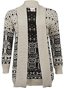 New Women Ladies Christmas Owl Print Knitted Jumper Long Sleeve Xmas Cardigans Sweater Uk Size 8-26 (l/xl 16-18, 02beige Cadigan)