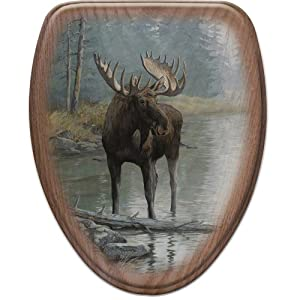 Comfort Seats C1B2E1-723-17AB Quiet Water Moose Elongated Oak Toilet Seat, Antique Brass