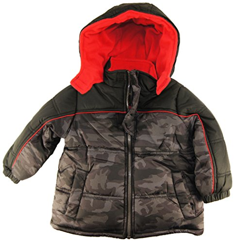 Ixtreme Baby Boys Infant Camo Print Puffer Winter Hooded Jacket, Black, 18M front-976607