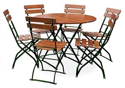 EuroLiving Set de meubles de jardin avec table et 6 chaises en acacia Lasure ocre/métal vert Ø table 100 cm