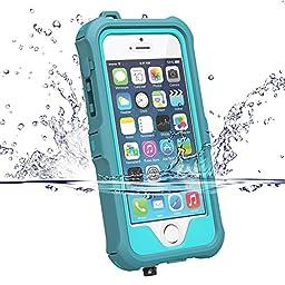 Zvedeng iPhone 5S Case, iPhone SE 5S Waterproof Case - water blue